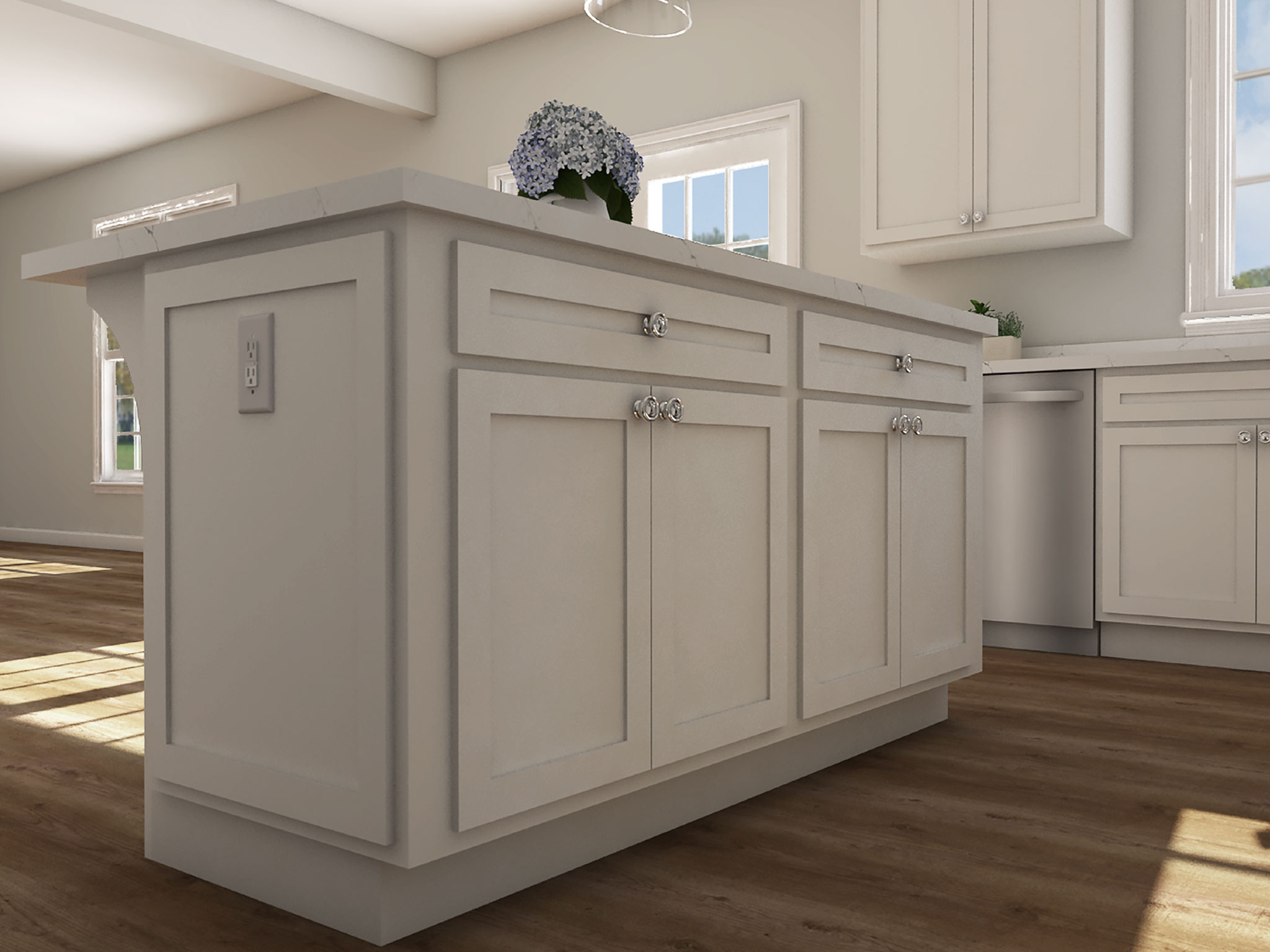 Classic Kitchen Island Rendering