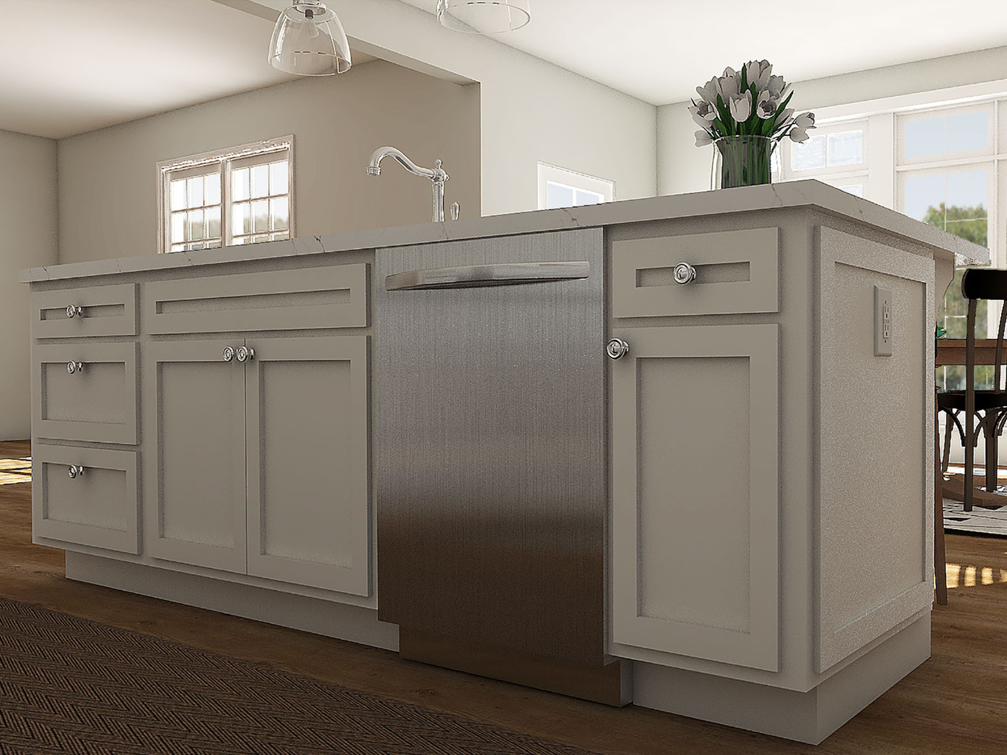 Designer Kitchen Island Rendering